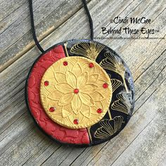 Asian, Lotus Flower, Gingko Leaves, Red, Black, Gold, Metallic, Polymer Clay Pendant, Hand-Made, Unique Design