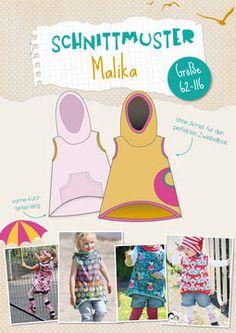 """""""Malika"""" ist ein lässiges Vokuhila-Kapuzenshirt, das von Mädchen UND Jungs getragen werden kann. Es fällt locker und kann nicht nur als luftiges Strandshirt genutzt werden (wo die Kapuze oft gold wert ist für eine steife Meeresbriese), sondern es kann auch wunderbar im Zwiebellook einfach über alles drüber gezogen werden. Es ist mal wieder alles absolut anfängertauglich beschrieben und jeder Schritt bebildert!  Der Schnitt beinhaltet das Shirt mit Kapuze, alle Bündchenlängen, sowie…"""