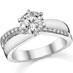 Round Moissanite & Diamond Engagement Ring Setting by Moissanite Co.
