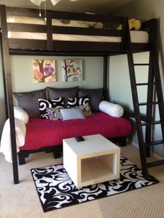 DIY pallet couch/daybed/guest bed that we created for under our teen daughters loft bed. Very simple!