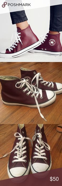 Free people leather converse Maroon leather converse purchased from free people. Great condition, have only been worn a handful of times. Free People Shoes Sneakers