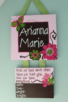 Customized Hospital Door Hanger for New Baby. Scripture Nursery Door Hanger. $45.00, via Etsy.