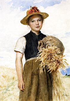 """""""Girl with Sheaves"""", also known as """"Madchen mit Garben"""" (Date unknown), by Swiss artist - Albert Anker (1831-1910), Watercolor and pencil on paper, 34 x24 cm. (13.39 x 9.45 in.), Private collection."""