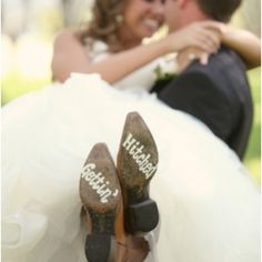 Ain't nothing better than a bride in a stunning dress by Vera Wang and cowboy boots that say gettin' hitched! Photo via Two Chics Photography.