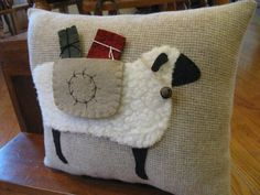 Primitive Wooly Christmas Sheep Carrying Gift by Justplainfolk
