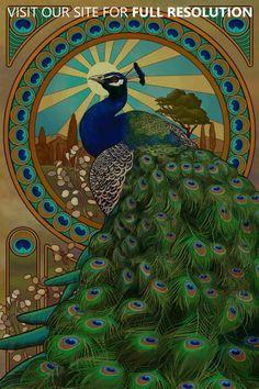 "Mucha style - ""Feather eyes"" - Illustration in style of ""Alphonse Mucha"""