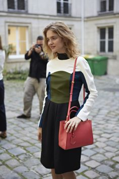 Natalia Vodianova in a colour block wool dress from Fendi's Fall/Winter 2013-2014 collection and the Spring/Summer 2014 Petite 2jours bag in pink leather