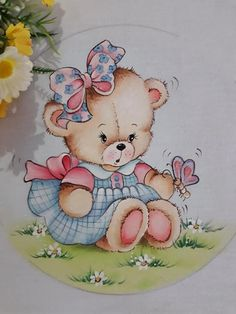 Easy Painting, Αρκουδίτσα, Πεταλούδα Baby Painting, Fabric Painting, Cute Bear Drawings, Teddy Bear Pictures, Coloring Book Art, Baby Embroidery, Cute Clipart, Cute Teddy Bears, Animal Cards