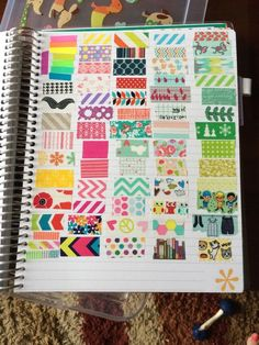 Washi tape page - brilliant. You take a free notes page in your planner and cover it with pre-cut washi strips so you can decorate a day without needing to carry around rolls of tape.  *applause*