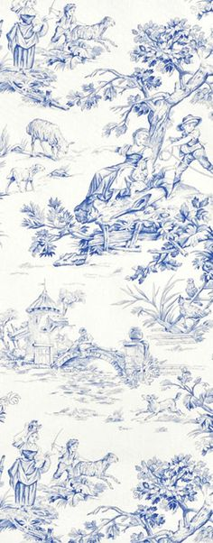 French wallpaper bedroom blue and white ideas French Wallpaper, Toile Wallpaper, Blue And White Wallpaper, Bedroom Wallpaper, French Country Bedrooms, French Country Style, Chinoiserie, Toile Bedding, Bedding Sets