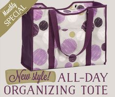 Monthly Special: All-Day Organizing Tote Get this bag for just $15 in September! www.mythirtyone.com/gzarpentine