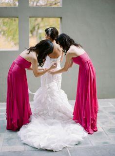 Long Hot Pink Bridesmaids Dresses | photography by http://sarahkchen.net/