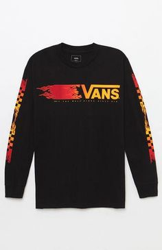 Add some signature Vans flames to your tee rotation with the Flammable Long  Sleeve T-Shirt. This sick tee has a crew neck and custom graphics on the  chest ... c4ae35113