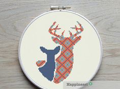 modern cross stitch pattern deer and fawn PDF by Happinesst