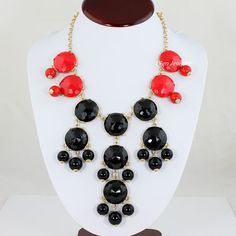 NEW ITEM Bubble Bib Necklace, Red and Black, Bubble Colorful Necklace Bib Necklace,Statement Neckalce (FN0643 ). $14.40, via Etsy.