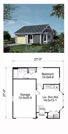 House Plan 95834 - Ranch, Traditional Style House Plan with 421 Sq Ft, 1 Bed, 1 Bath, 1 Car Garage Micro House Plans, Ranch House Plans, Small House Plans, House Floor Plans, Tiny Home Floor Plans, Br House, Tiny House Cabin, Tiny House Design, Two Bedroom Tiny House