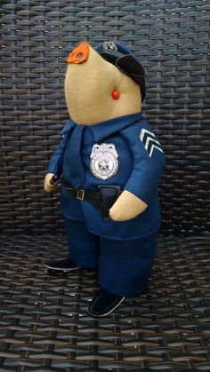 Vintage 1970s Patico Stuffed Animal Collectible Pig in Police Uniform Father's Day Curiosity Oddity Gift by FirstStreetVintage on Etsy