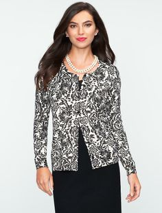 Talbots - Charming Sparkle Floral-Scroll Cardigan | | Misses........$74.25