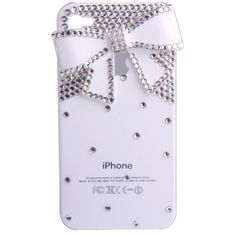3d Bling Crystal Bow Case for Apple Iphone 4 and 4s (White)