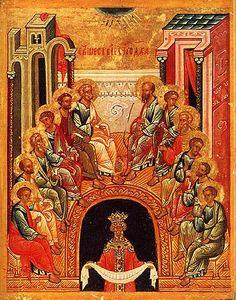 """Pentecostés en la Iconografía Bizantina : """"Pentecostés"""" en la Iconografía e Himnografía de la Tradición Bizantina Hoy Cristo ilumina a los pescadores con el Espíritu y los convoca a la unidad La fiesta de Pentecostés como fiesta litúrgica se celebra en todas las liturgias cristianas el quincuagésimo día después de la Pascua, y es una de las Fiestas más antiguas del calendario cristiano. Ya en el siglo III hablan de ella Tertuliano y Orígenes, incluso la presentan..."""