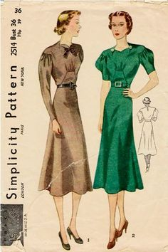 Simplicity pattern from 1937.  Love it.