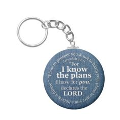 Jeremiah 29:11 I Know the Plans Bible Verse Denim Key Chains. Great graduation gift to accompany your congratulations card or add to a graduation gift basket.