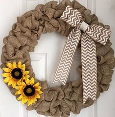 """Burlap Sunflower Wreath - Fall Burlap Wreath - Fall Wreath for Front Door - Yellow Sunflower Wreath - Front Door Decor - Autumn Wreath. Burlap sunflower wreath made on a 16"""" wire frame. The finished product is about 20"""" in diameter. Each wreath is handmade and may differ slightly from the example shown in the photo. I make every effort to ensure each wreath is full and even. All my wreaths are made to order so please allow 1-2 weeks of processing time. Thank you for your interest in Adore..."""
