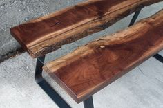 Live Edge Coffee Table Black Walnut and Glass by EmeraldCitySlabs