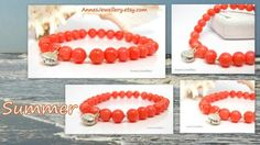 Orange bracelet for this summer! Coral, Feminine, Sterling Silver, Orange, Beads, Bracelets, Summer, Jewelry, Lady Like