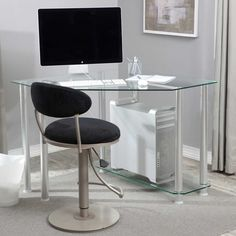Corner Workstation Desk Glass Desk Design Corner Workstation pertaining to sizing 1000 X 1000 Compact Glass Corner Computer Desk - If you are very likely t Small Glass Desk, Glass Corner Desk, Modern Corner Desk, Small Corner Desk, Glass Top Desk, Desks For Small Spaces, Furniture For Small Spaces, Clear Desk, Corner Office