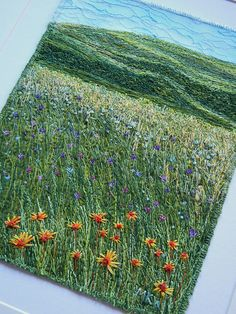Amazing embroidery over painted canvas by Monika Kinner-Whalen