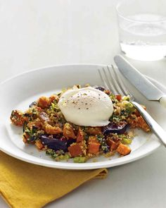 Fall-Vegetable and Quinoa Hash with Poached Eggs - Tender, nutty quinoa makes for a hearty hash when pressed with vegetables. Top each helping with a poached egg and you've got brunch. (Use 2 cups cooked quinoa to serve 4.)