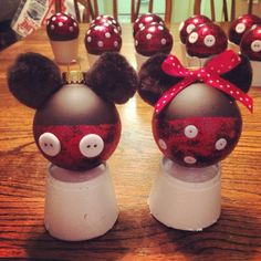 mickey and minnie mouse christmas ornaments made by creative edge personalized keepsakes - Mickey And Minnie Christmas Decorations