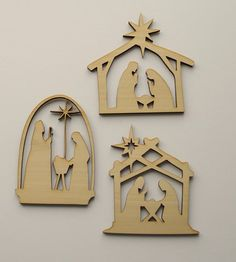 Wood Christmas Ornament  3 large nativity by BlessthisMessPlease