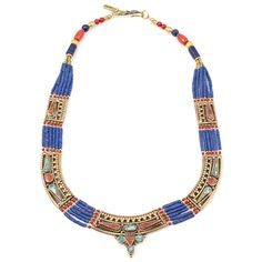 Moon Shield Lapis & Red Coral Statement Necklace.