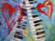 """""""Through the Eyes of Ronda Richley, now at Magruder Laser Vision, 120 East Par Street, College Park, Orlando, don't miss it! Here is one of the works there! it is Concerto in Three Minor Hearts. Dr. Magruder had his own take on this one. He saw the keyboard as a spine. That is due to his background in medicine. Interesting for me to see it that way, as I only saw it as two keyboards with three hearts.  #hearts #heartart, #orlando #orlandoevents #orlandoart"""