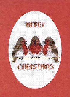 Buy Robin Trio Greeting Card Cross Stitch Kit Online at www.sewandso.co.uk
