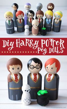 Create your own Harry Potter character peg dolls to play with, collect, or give as gifts! Harry Potter Castle, Harry Potter Dolls, Harry Potter Gifts, Wood Peg Dolls, Wood Toys, Harry Potter Christmas, Wooden Pegs, Button Crafts, Handmade Toys