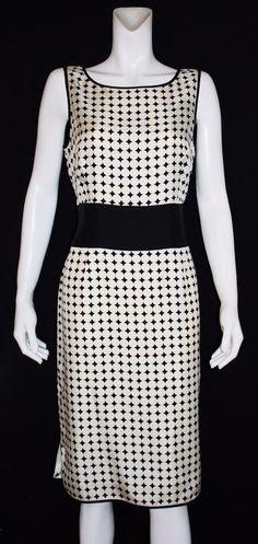 Talbots Black White Sleeveless Pure Silk Knee Length Career Dress Size 12…