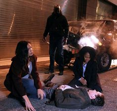 Luke Cage and Claire Temple in the set of Luke Cage