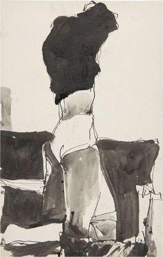 kundst:  Richard Diebenkorn (US 1922 - 1993) Figure changing clothes (ink)