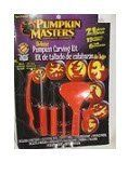Pumpkin Masters® Deluxe Pumpkin Carving Kit: 21 Pieces; 15 Patterns; Safter Than Kitchen Knives by Signature Brands, LLC. $9.99. The #1 selling carving kit in America. Create amazing designs with ease using 1 or more of 15 different stencils. Tools:  sculpting tool, large saw, small saw, drill Scraper ScoopTM, pounce wheel. Recommended for ages 12 and up. Pumpkin Masters® is the creator of the world's first pumpkin carving kit that makes it easy to create intricate, d...