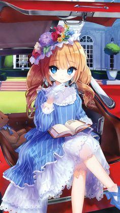 Blue dress, car, anime girl, original, 720x1280 wallpaper