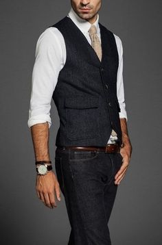 Love this pulled together look. Dark denim, dark wool waistcoat, white shirt with rolled sleeved. Fashion Moda, Look Fashion, Mens Fashion, Guy Fashion, Mens Attire, Mens Suits, Suit Men, Sharp Dressed Man, Well Dressed Men