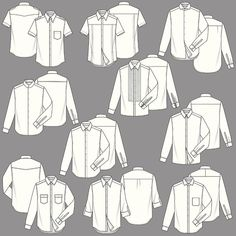 Mens Shirt Fashion Templates Drawing by Monoapple