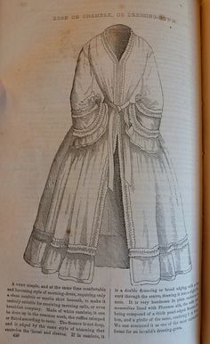 godey's Dressing gown of white cambric | Fashionable Frolick: Fashions from Godey's Lady's Book, May 1853