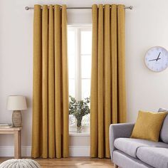 Vermont Mustard Eyelet Curtains, Featuring a woven textured effect, this pair of luxurious, fully lined Vermont curtains come in a contemporary and bold mustard yellow colour. Mustard Living Rooms, Mustard Bedroom, Living Room Grey, Mustard Yellow Curtains, Mustard Yellow Decor, Grey Room, Living Room Decor Curtains, Home Curtains, Bedroom Decor