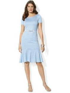 Lauren Ralph Lauren Short-Sleeve Belted Striped Drop-Waist Dress