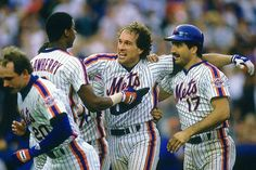 Gary Carter celebrates with teammates Darryl Strawberry and Keith Hernandez after the New York Mets finished the 1986 season with a major-league best record. Carter, an All-Star and Hall of Fame catcher who died of brain cancer at age. Baseball Fight, Baseball Star, Baseball Players, Baseball Photos, Hockey, New York Mets Baseball, Ny Mets, Sports Illustrated Kids, Darryl Strawberry