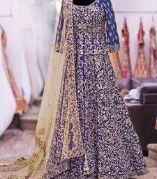 Buy blue art silk embroidered semi stitiched salwar with dupatta anarkali-salwar-kameez online